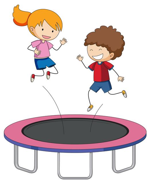 トランポリンで遊ぶ子供